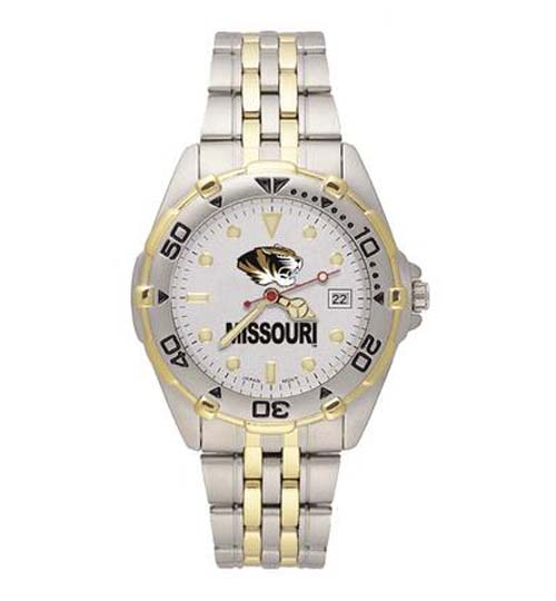 "Missouri Tigers ""MO with Tiger Head"" All Star Watch with Stainless Steel Band - Men's"