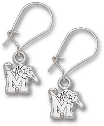 Memphis Tigers M Tiger Dangle Earrings Sterling Silver Jewelry