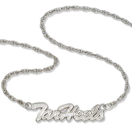 "North Carolina Tar Heels 18"" ""Tar Heels"" Script Necklace - Sterling Silver Jewelry"