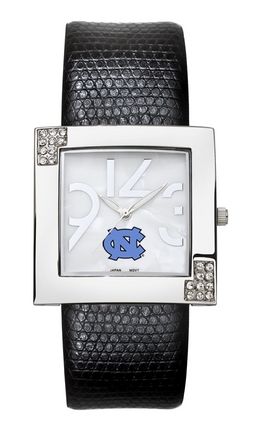 North Carolina Tar Heels Women's Glamour Watch with Leather Strap