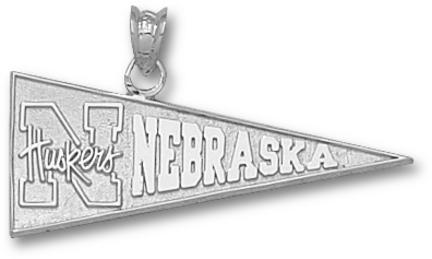 Nebraska Cornhuskers N Huskers Pennant Pendant - Sterling Silver Jewelry