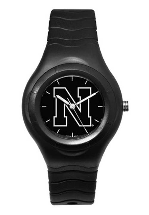 Nebraska Cornhuskers Shadow Black Sports Watch with White Logo