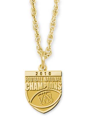 "Auburn Tigers 2010 Bowl Championship Series 5/8"""" Pendant and 18"""" Necklace - 10KT Gold Jewelry"" LGA-UNV018ACHN-10K"