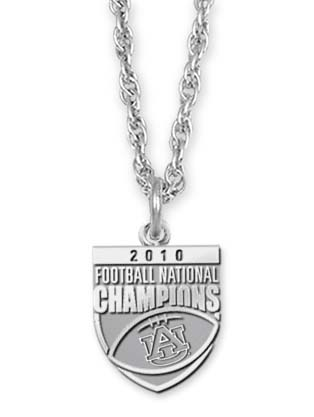"Auburn Tigers 2010 Bowl Championship Series 5/8"""" Pendant and 18"""" Necklace - Sterling Silver Jewelry"" LGA-UNV018ACHN-SS"
