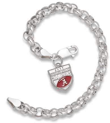 Alabama Crimson Tide 2011 BCS National Champions Enamel Rollo Bracelet - Sterling Silver Jewelry LGA-UNV022EARLL-SS