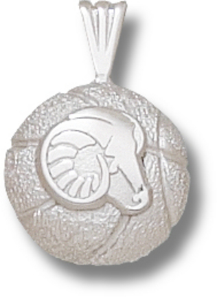 Rhode Island Anchormen Rams Head Basketball Pendant - Sterling Silver Jewelry