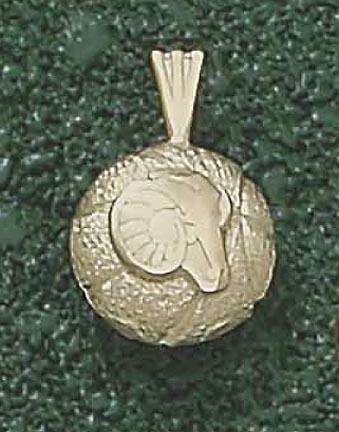 Rhode Island Anchormen Rams Head Basketball Pendant - 14KT Gold Jewelry