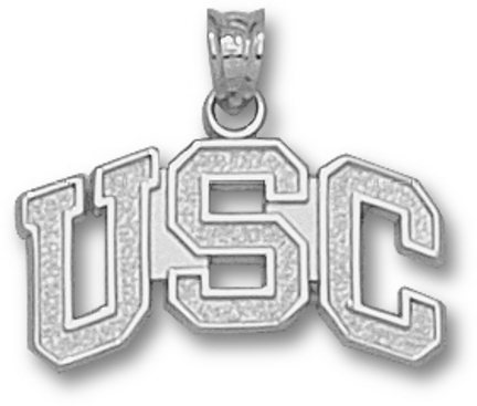 "USC Trojans Arched ""USC"" Pendant - Sterling Silver Jewelry"