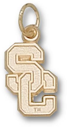 """USC Trojans """"""""SC"""""""" 1/2"""""""" Charm - 14KT Gold Jewelry"""" LGA-USC005-G"""