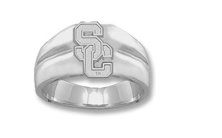 "USC Trojans Athletic """"SC"""" Men's Ring Size 10 1/2 - Sterling Silver Jewelry"" LGA-USC005GR-S"