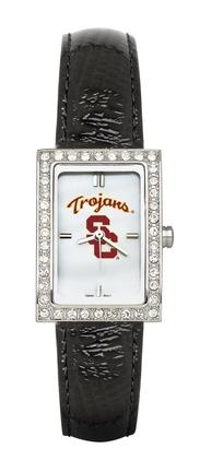 USC Trojans Women's Allure Watch with Black Leather Strap