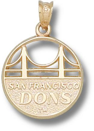 San Francisco Dons Golden Gate Bridge with Dons Pendant - 14KT Gold Jewelry