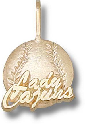 Louisiana (Lafayette) Ragin' Cajuns Lady Cajuns Softball Pendant - 14KT Gold..