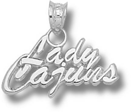 Louisiana (Lafayette) Ragin' Cajuns Lady Cajuns 3/8 Pendant - Sterling Silve..