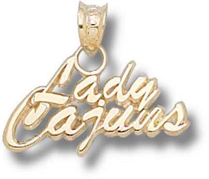Louisiana (Lafayette) Ragin' Cajuns Lady Cajuns 3/8 Pendant - 14KT Gold Jewe..