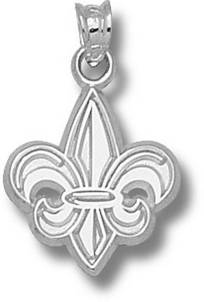 Louisiana (Lafayette) Ragin' Cajuns Fleur De Lis 5/8 Pendant - Sterling Silv..