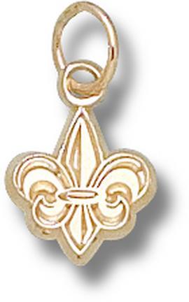 Louisiana (Lafayette) Ragin' Cajuns Fleur De Lis 3/8 Charm - 14KT Gold Jewelry