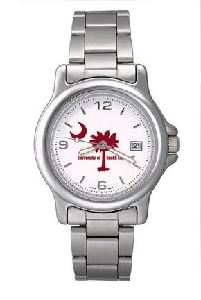 South Carolina Gamecocks NCAA Palm  Moon Mens Chrome Varsity Watch with Stainless Steel Bracelet Strap