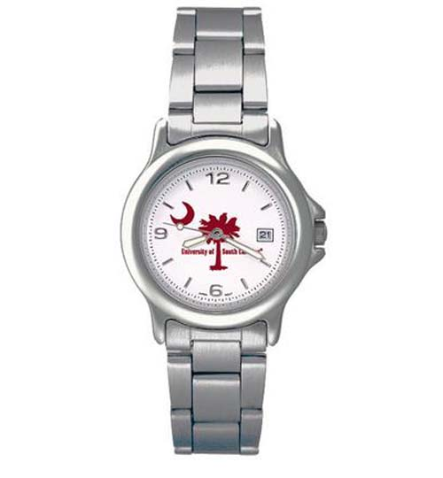 South Carolina Gamecocks NCAA Palm  Moon Womens Chrome Varsity Watch with Stainless Steel Strap