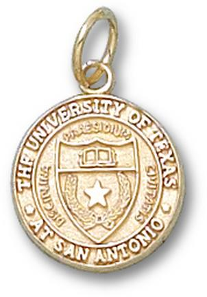 "Texas (San Antonio) Roadrunners """"Seal"""" 1/2"""" Charm - 14KT Gold Jewelry"" LGA-UTS015-G"