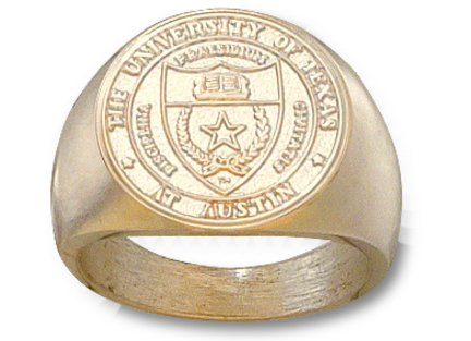 Texas Longhorns Seal Mens Ring Size 10 12  14KT Gold Jewelry