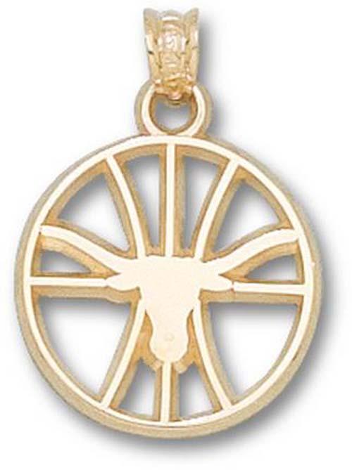 "Texas Longhorns ""Longhorn Pierced Basketball"" Pendant - 10KT Gold Jewelry"