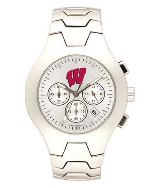 Wisconsin Badgers NCAA Men's Hall of Fame Watch with Stainless Steel Bracelet