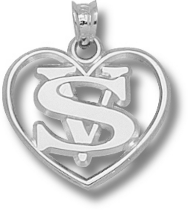 """Valdosta State Blazers """"VS with Heart"""" Pendant - Sterling Silver Jewelry"""
