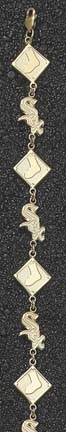 Chicago White Sox Sox And Diamond 8 1/4 Bracelet -10kt Gold Jewelry