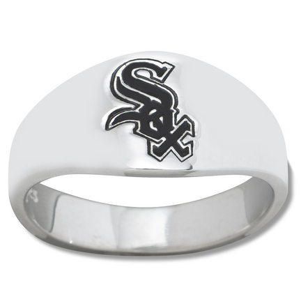 Chicago White Sox Logo Men's Enamel Sterling Silver Band Ring (Size 12)
