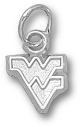 """West Virginia Mountaineers Outlined """"WV"""" 1/4"""" Charm - Sterling Silver Jewelry"""