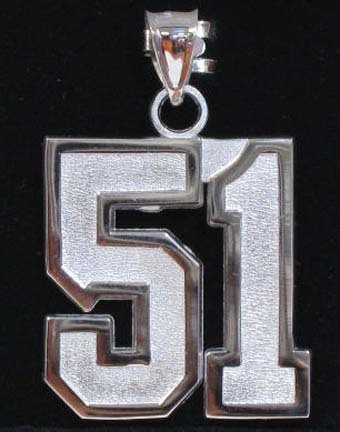 Extra Large 1 Double Number with No Bar Polished Pendant - Sterling Silver J..