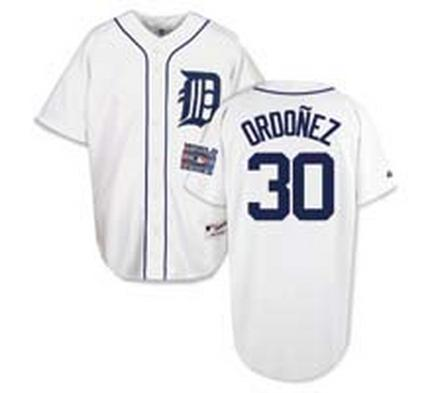 Magglio Ordonez Detroit Tigers #30 Authentic Majestic Athletic Cool Base MLB Baseball Jersey (Home White)