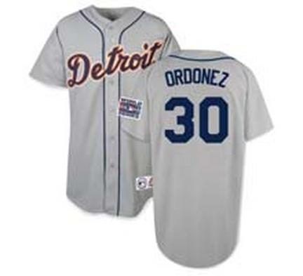 Magglio Ordonez Detroit Tigers #30 Authentic Majestic Athletic Cool Base MLB Baseball Road Jersey (Gray Size 56)