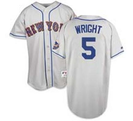 David Wright New York Mets #5 Authentic Majestic Athletic Cool Base MLB Baseball Jersey (Road Gray)