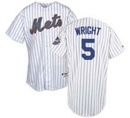 David Wright New York Mets #5 Authentic Majestic Athletic Cool Base MLB Baseball Jersey (Home Pinstripe)