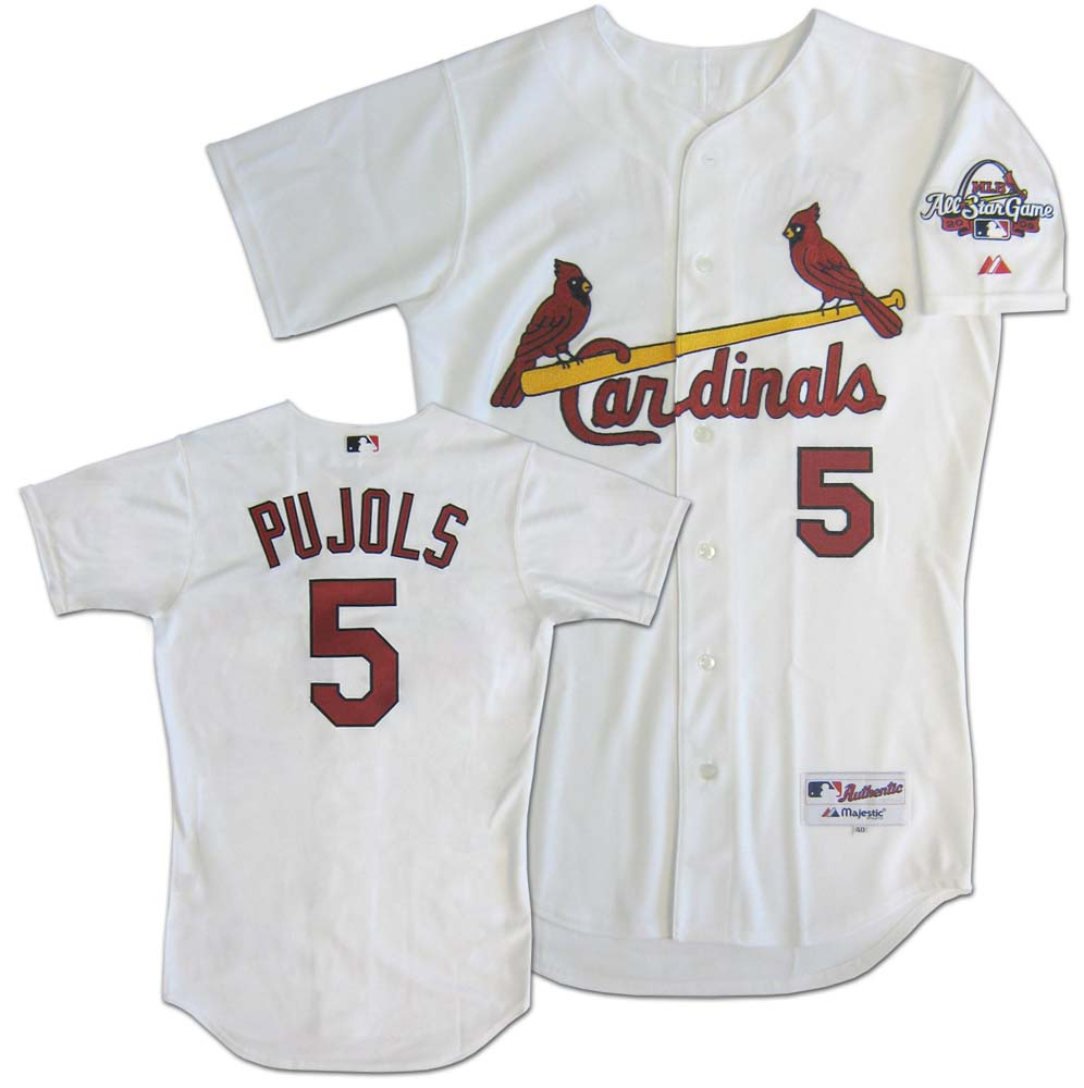 Sporting Goods Stores Albert Pujols St. Louis Cardinals #5 Authentic Majestic Athletic Cool Base MLB Baseball Jersey (Home White, Size 52)