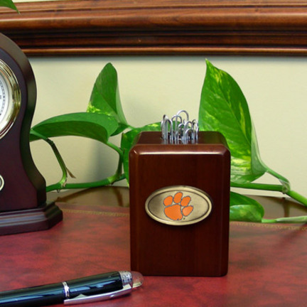 Clemson Tigers Wood Paper Clip Holder