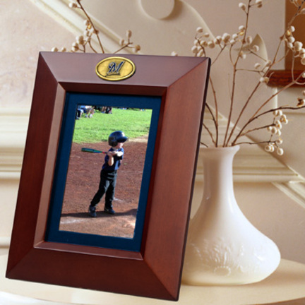 """Milwaukee Brewers 5"""" x 7"""" Vertical Brown Picture Frame"""