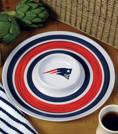 """Image of 14"""" New England Patriots Melamine Chip and Dip Serving Tray"""