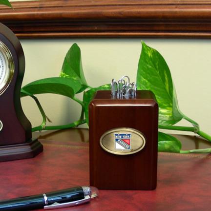 New York Rangers Wood Paper Clip Holder