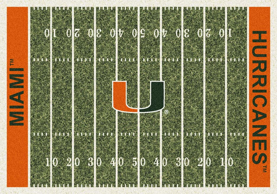 Miami Hurricanes 5ft 4in x 7ft 8in NCAA Home Field Area Rug