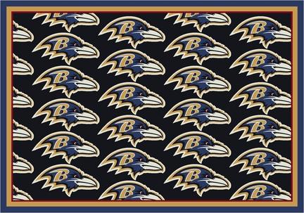 "Baltimore Ravens 7' 8"" x 10' 9"" Team Repeat Area Rug (Black)"
