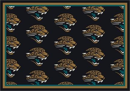 """Jacksonville Jaguars 7' 8"""" x 10' 9"""" Team Repeat Area Rug (Black)"""