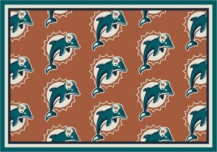 """Miami Dolphins 5' 4"""" x 7' 8"""" Team Repeat Area Rug (Orange)"""