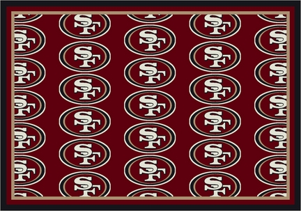 """San Francisco 49ers 3' 10"""" x 5' 4"""" Team Repeat Area Rug (Red)"""