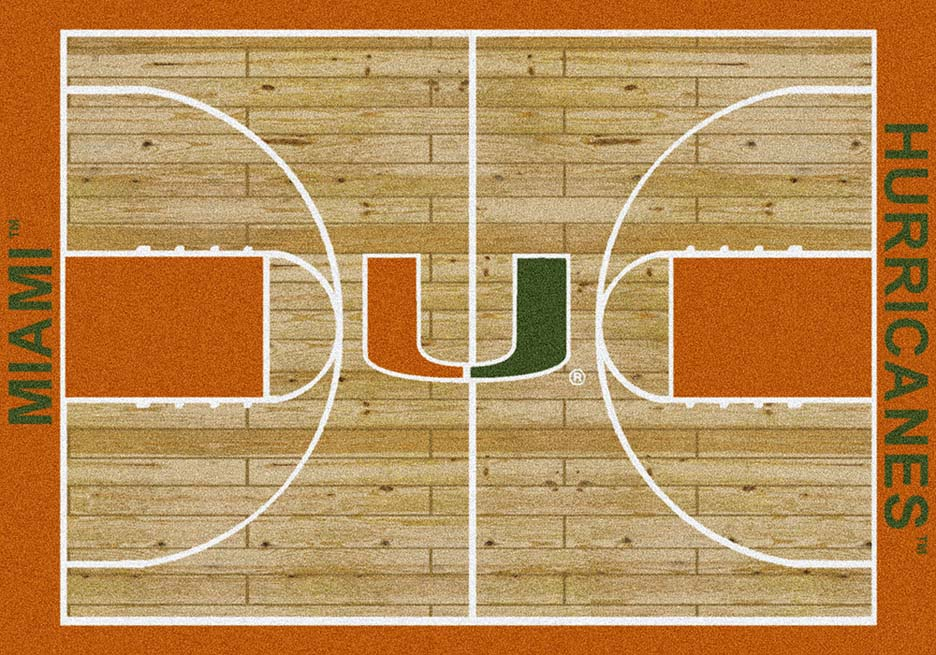 Miami Hurricanes 7ft 8in x 10ft 9in Home Court Area Rug