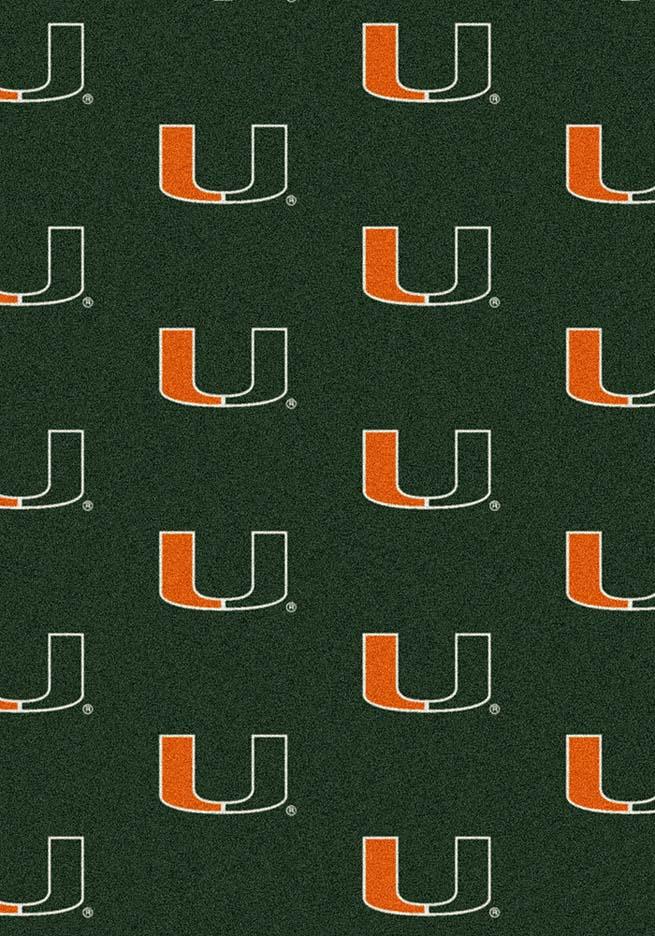 "Miami Hurricanes 5' 4"" x 7' 8"" Team Repeat Area Rug"