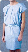 3-Ply Blue Disposable Exam Gowns - Case of 50