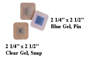 """2 1/4"""" x 2 1/2"""" Blue Gel Multi-Day Electrodes (Pin) - Pack of 40"""
